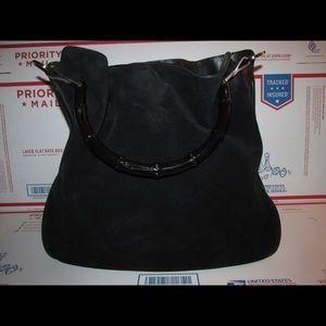 Vintage Gucci Bag Black Suede and leather satchel